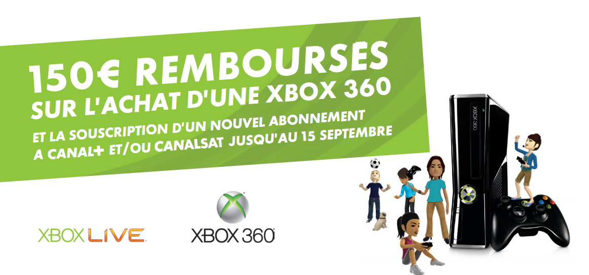 150 rembours s sur l 39 achat d 39 une xbox 360. Black Bedroom Furniture Sets. Home Design Ideas